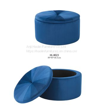 Round Ottoman with Storage,Upholstered with Velvet
