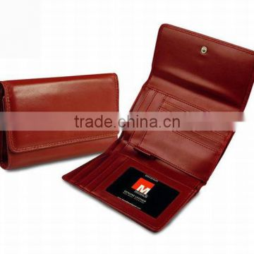 Hot selling Genuine leather 3 folds trifold ladies purse