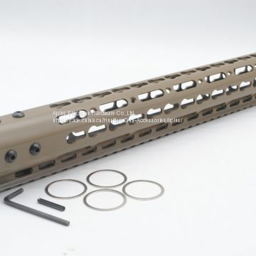 Tan / FDE 15 inch Length Free Floating KeyMod NSR Handguard Rail Mount With Steel Barrel Nut