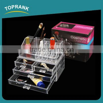 Toprank Makeup Holder Display Stand Arcylic Cosmetic Organizer Clear 3 Drawer Acrylic Makeup Organizer With Lipstick Holder