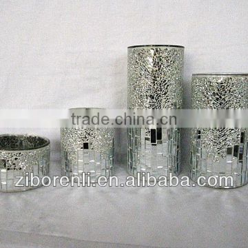 crackle mosaic glass large cylinder glass vase made in China