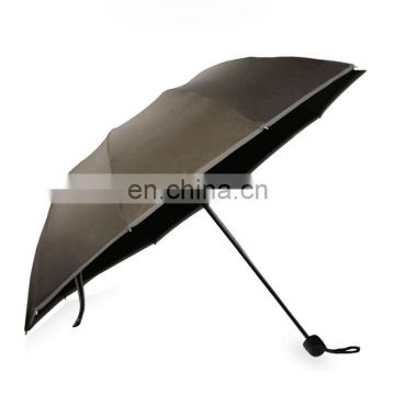 Unique Cheap Custom Made Sun Rain Windproof 3 Folding Small Promotional Reflective Glow Umbrella
