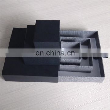 Rigid high quality handmade black pull out drawer box with ribbon handle