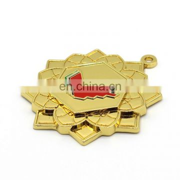Gold plating shining surface stars shape custom medals
