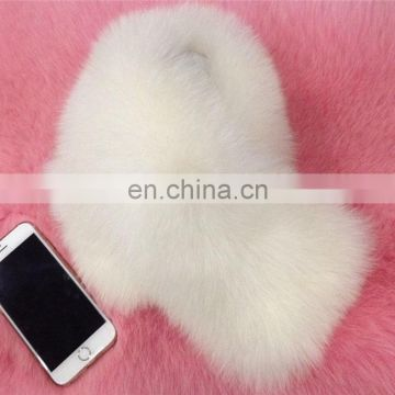 Hot sale classical round collar soft genuine fox fur collar for down jackets