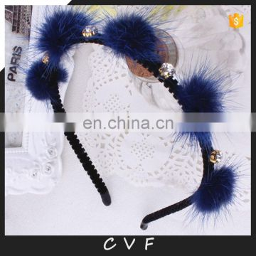 Fashion design girl fur hair hoop for lady decoration hand made fur headband