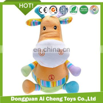 hot sale colorful cute plush cow stuffed toy for children education toy