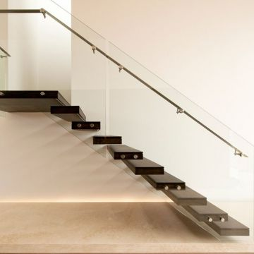 Indoor Hidden Keel Floating Stair with Tempered Glass Railing
