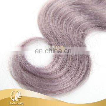 Wholesale natural color brazilian grey hair top closure
