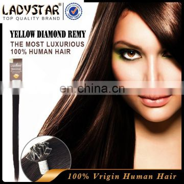 Hot selling black hair european remy prebounded hair extension remy human hair ladystar brand