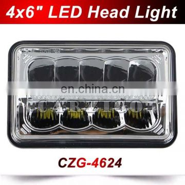 CZG-4624 for Traillers Trucks 6x4 inch 24w led head lamp with hi/low spot beam black for heavy duty 4X6 inch led head light