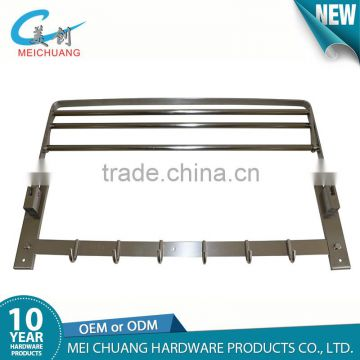 Stainless steel towel rail rack with 6 hooks