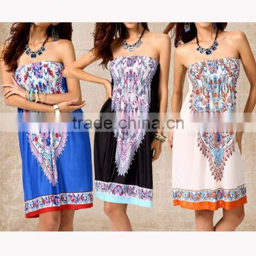 Walson Wholesale high quality boho clothing strapless printed sexy dress