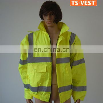 Security protection roadway safety waterproof oxford fabric yellow good quality	on sale EU market high visibility jacket