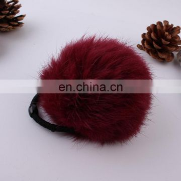 Factory supply hand made girl women fashion rabbit fur pompon hairband