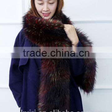 Womens Fur Scarfs Fashionable Luxury Runway Show 200cm Long Faux Fur Fox Fur Stole Collar Strip Patchwork Pashmina Scarf