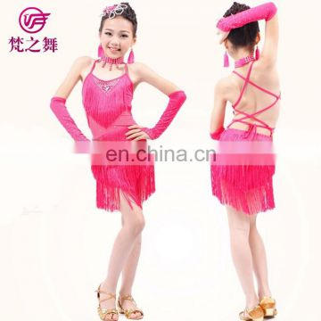 Sexy professional fringe children girls latin dane dress with size S M L XL XXL ET-080