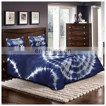 Indigo shibori blue bed sheet bed cover, Tye Dyed Blue Bed cover with 2 pillow