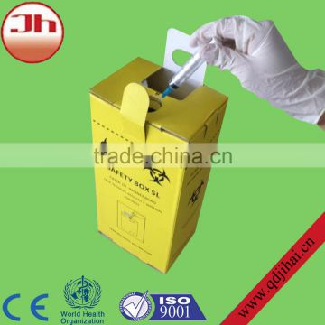 corrugated medical safety box/biohazard waste container that disconnect needles