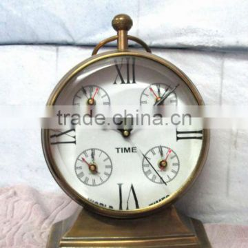 Nautical world time table clock, desktop world time clock, antique brass table clock, antique table clock