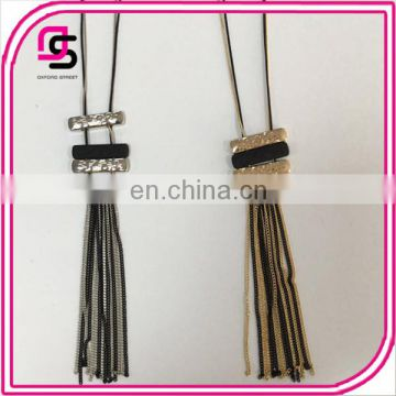 Hot selling simple tassels pendant jewely long alloy necklace for gift