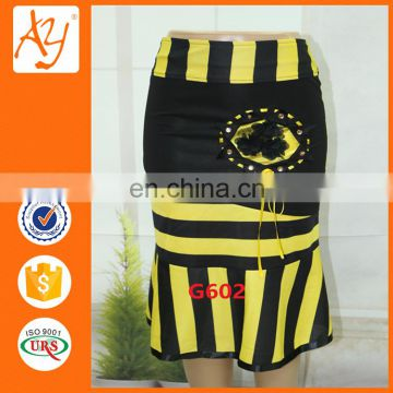 Stripe short african print skirts printed cotton skirts pictures with beading and ribbon