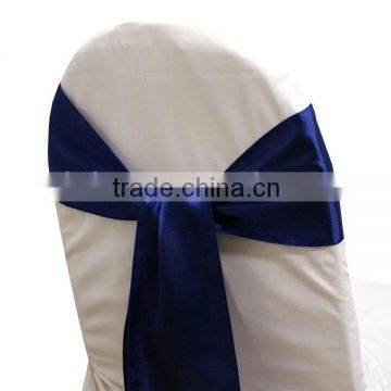 navy blue fancy vogue satin chair sash tie back bow tie knot
