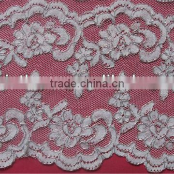 Metal Sliver Corded Jacquard Trimming Lace/double side french lace