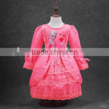 beautiful baby favourite long sleeve Princess cosplay dress original selling cheaper frozen dresses for kids