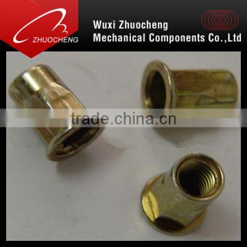 yellow Zinc Plated low price manufactured hex Head Knurled Rivet Nut M3 M4 M5 M6 M8 M10 M12