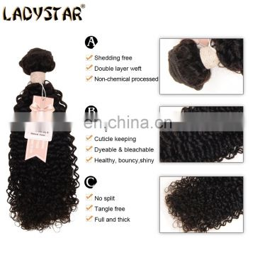 3pc Brazilian Kinky Curly Virgin Hair With 4*4 Lace Closure Ladystar Brazilian Hair Unprocessed Premium 100% Human Hair