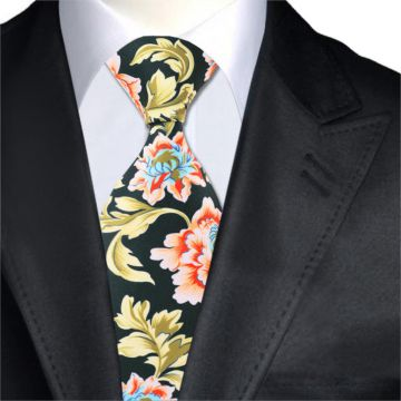 Handmade Yellow Polyester Woven Necktie Digital Printing Mens Suit Accessories