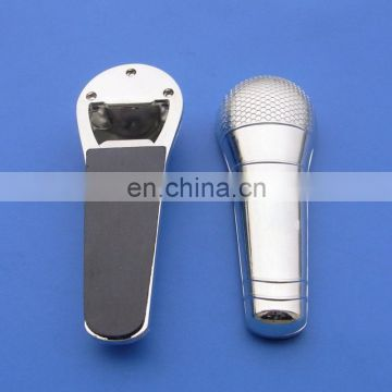 silver tone Microphone shape metal bottle opener with customized engraved logo