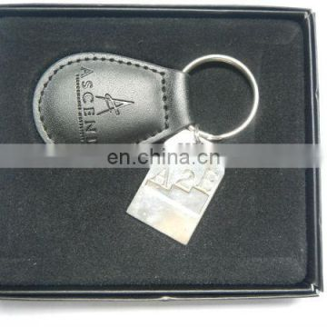 exquisite leather key holder with metal tag
