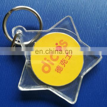 High Quality photo insert custom star shape keychain acrylic