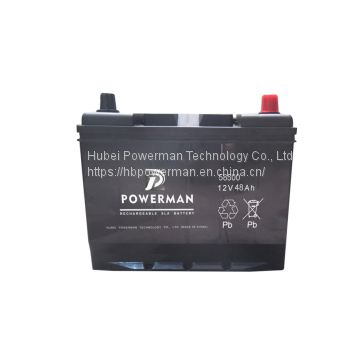 Powerman 12V 48Ah Lead Acid Portable maintenance free car battery for starting from chinese suppliers or manufacturers