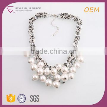 N74410K01 STYLE PLUS silver plate latest design beaded pearl necklace pearl thick chain necklace designs