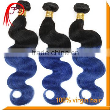 Ombre 1B Blue Brazilian Body Wave Hair 3 Bundles Two Tone Bule Ombre Hair Extensions 100% Human Remy