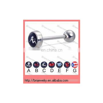 New arrival sexy crazy costume tongue barbell rings stick on body piercing jewelry in 316L surgical steel