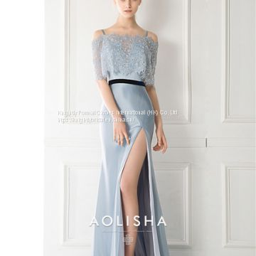 Off-Shoulder Sheath A-line Satin Beaded Lace Jacket Evening Dress