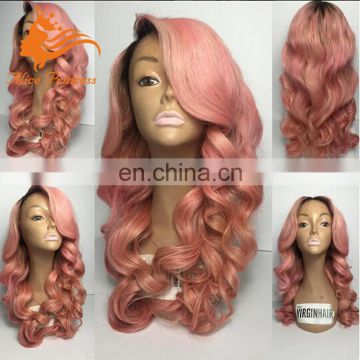 Two Tone Humnan Hair Wig 1BTPink Body Wave Small Medium Cap Full Lace Wig In Stock Remy Indian Hair Tangle Free Human Hair Wig