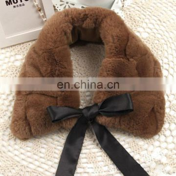 Fancy rex rabbit fur collar with ribbon bowtie for lady women