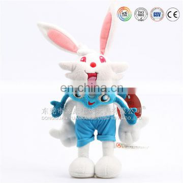 OEM sitting long ears brown soft plush rabbit toy with bag