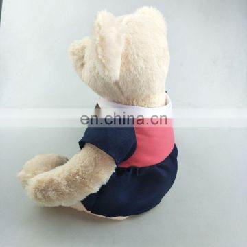 Lovely 30cm plush bear toy with pink dress 100% cotton clothes