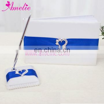 2016 New White Color Wedding Decoration Flower Basket Ring Pillow & Garter 5Pcs Set with Navy Blue Ribbon and Stone Heart