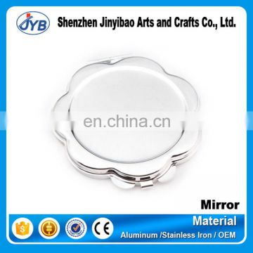 small moq custom round concave blank compact mirror with flower shaped