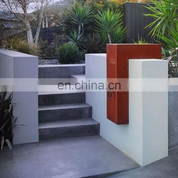 Customized wall mount corten steel rusty metal mailbox for apartment
