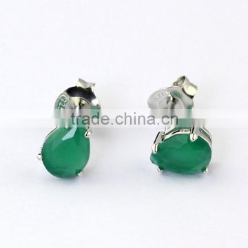 wholesale semi joias brincos rhodium plated emerald zirconia pear stud earrings                                                                                                         Supplier's Choice