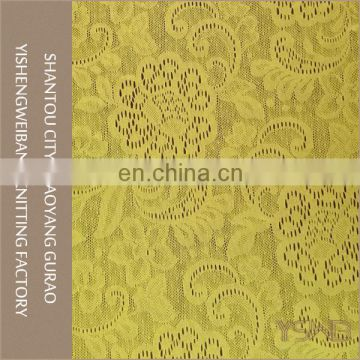 Beautiful flower design elastic knitted sapndex yellow lace fabric