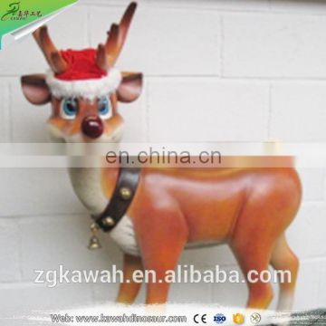 KAWAH Artificial Christmas Resin Statue Life-Size Fiberglass Reindeer Sculptur For Sale